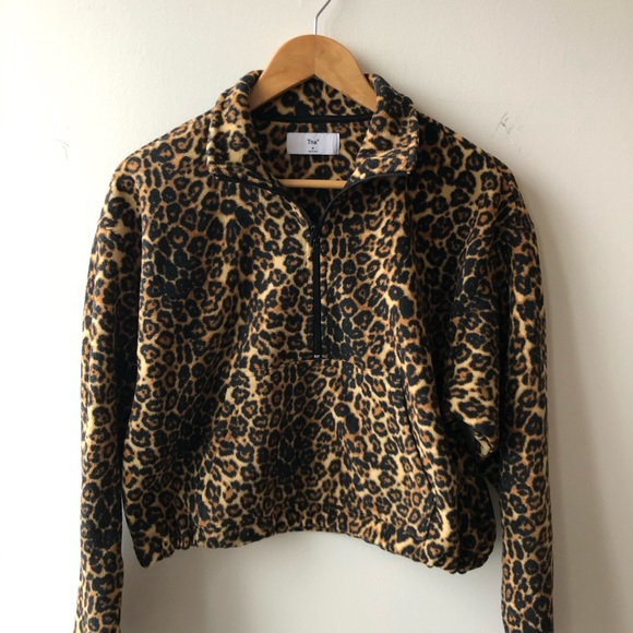 Aritzia TNA leopard 3/4 zip fleece sweatshirt